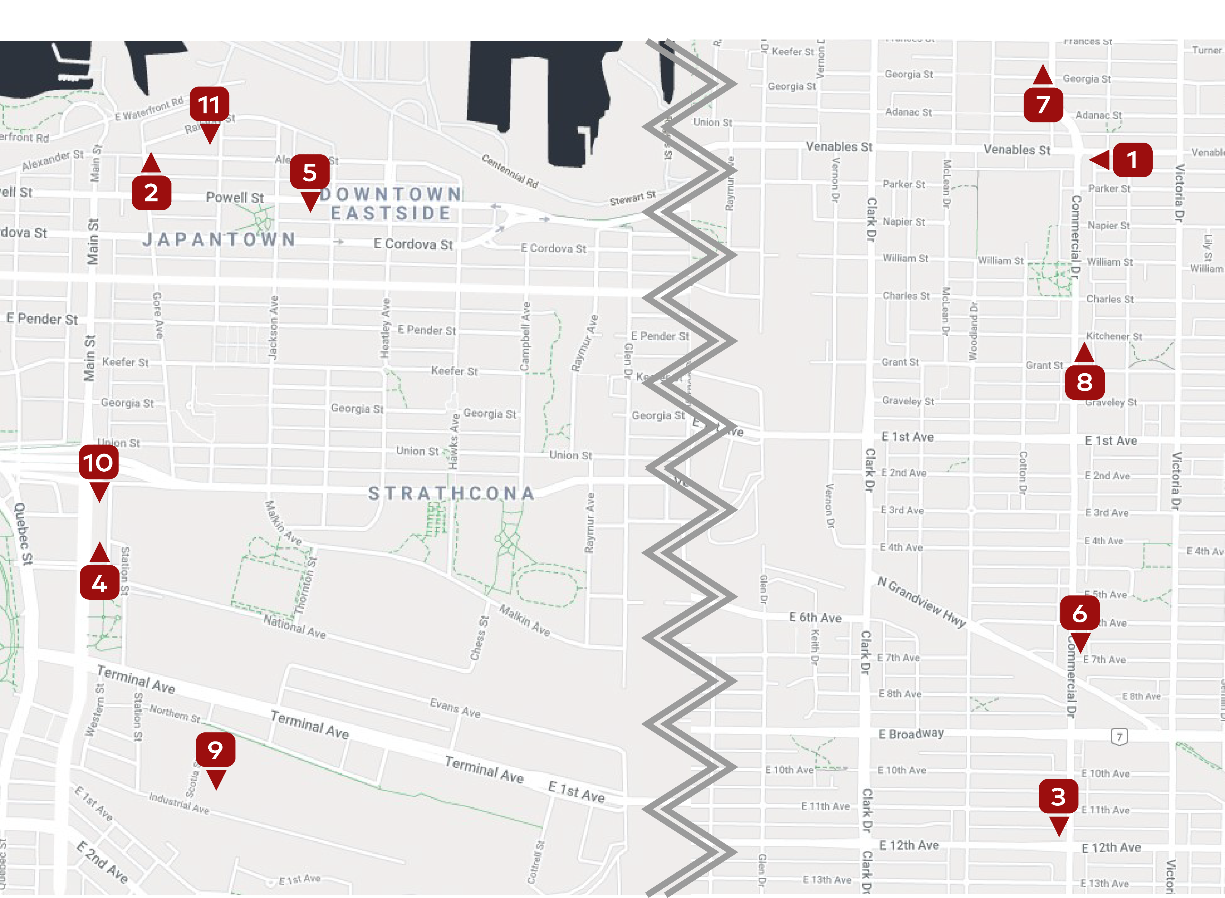 Strathcona & Commercial Dr Map