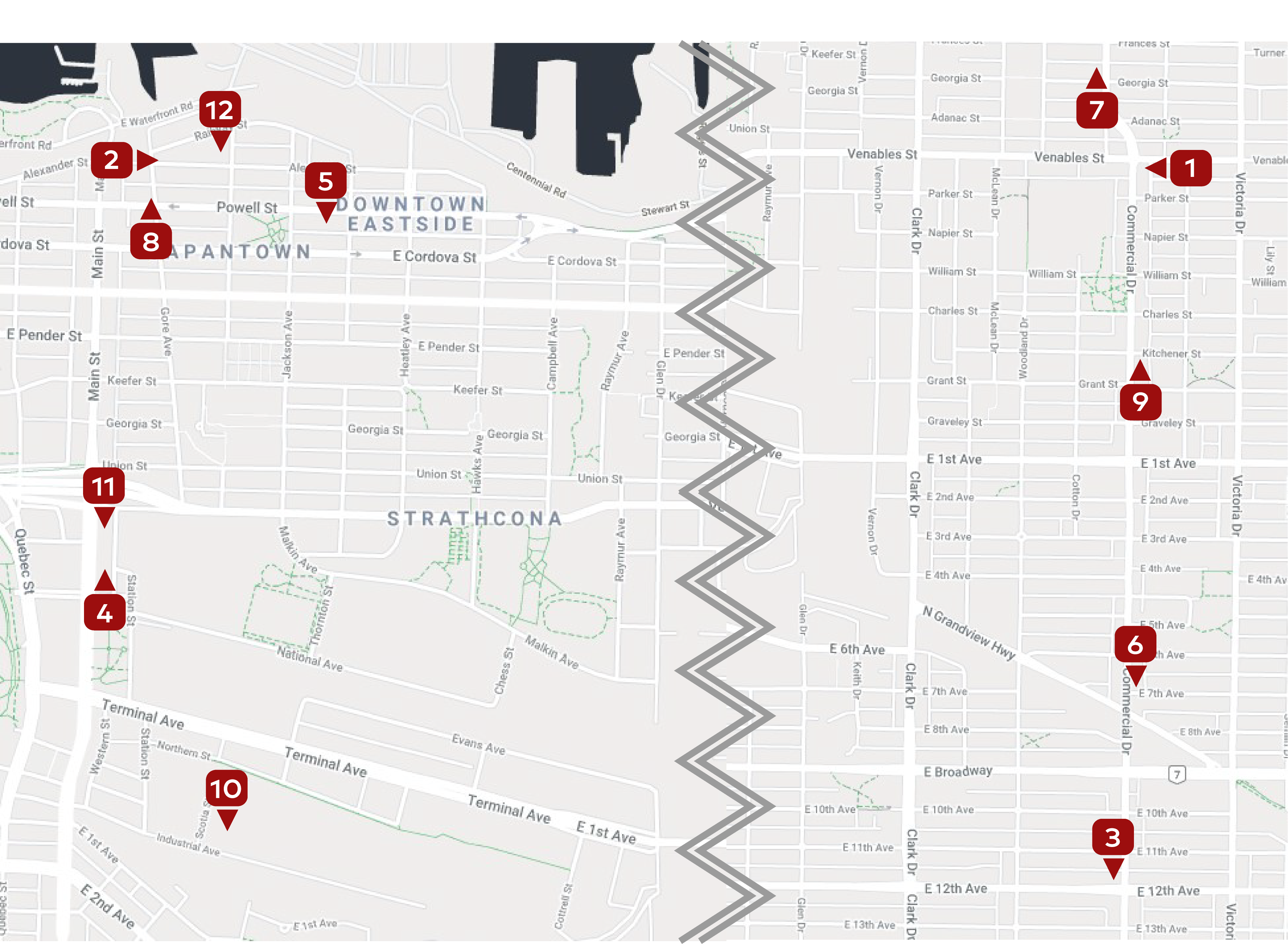 Strathcona & Commercial map